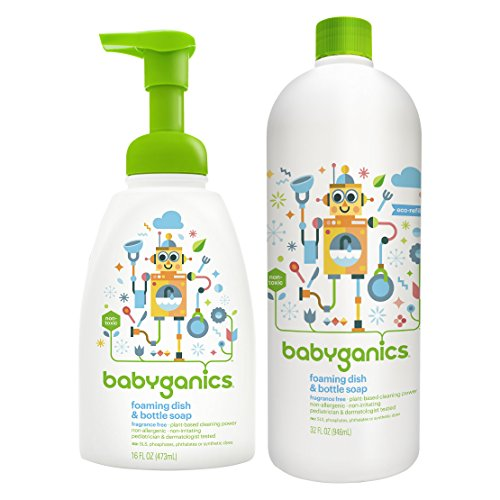 Babyganics 16 Ounce Dish Dazzler Foaming Dish and Bottle Soap with Refill Kit (Original Version)