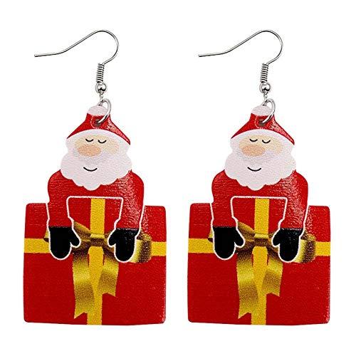 Pendientes Navideños De Piel Sintética Colgantes LáGrima PéTalos Cuero DíA Navidad Christmas Pendant Charms Encantos Accesorios Artesanía Para Diy Collar Pulsera Joyería