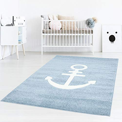 Taracarpet Kinderzimmerteppich für Jungen Anker Maritim Blau Dreamland Anker Blau 060x110 cm