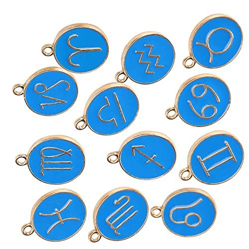 12 constelaciones colgantes de dijes de esmalte chapado en oro colgante de gota de aceite de aleación para DIY collar pulsera pendiente fabricación de joyas(Azul real)