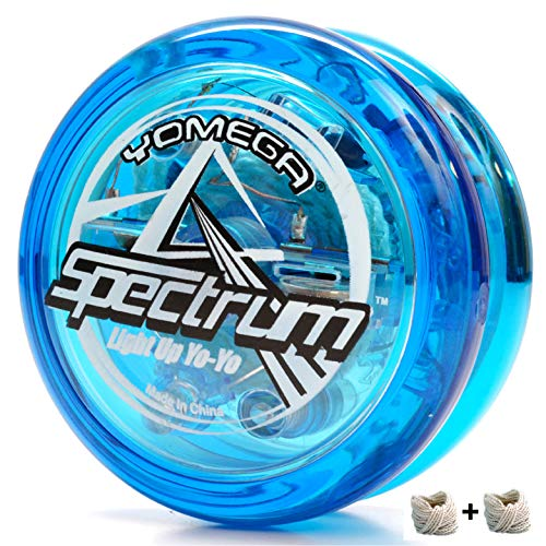 Yomega Spectrum  Light up Fireball Transaxle YoYo with LED Lights for Intermediate, Advanced and Pro Level String Trick Play + Extra 2 Strings (Blue)