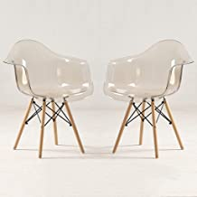 2Pcs Transparent Chair Plastic Dining Room Chair with Beech Legs Simple Modern Household Leisure Clear Scandinavian Chair ...