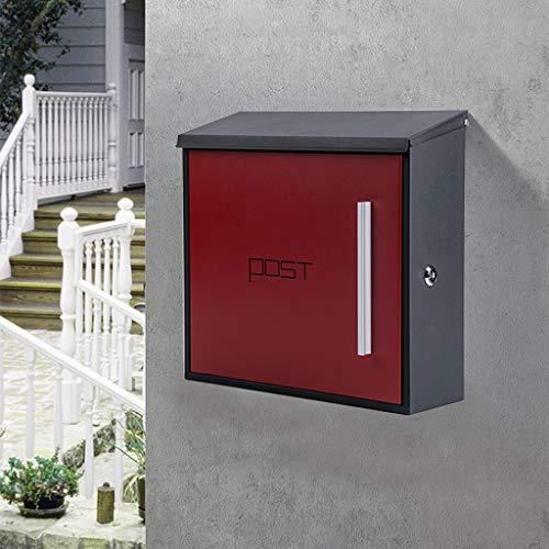 MXD brievenbus Europese villa buitenmuur met slot regendicht roestvrij staal suggestie doos brievenbus zwarte doos rode deur