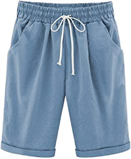RkBaoye Women's Plus Size Beach Wear Slant Pocket Casual Bermuda Shorts