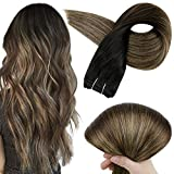 Full Shine Remy Human Hair Weft Extensions 18 Inch Weave Hair Color 1B Off Black Fading to 6 and 27 Honey Blonde Invisible Bundles Straight Hair Bundles 100 Gram