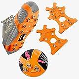 HONYAO Crampones Cubierta Antideslizante de Zapatos,Suelas Antideslizantes para Hombres y Mujeres Zapatos,11 Puntas Dientes Acero Antideslizante en Hielo o Nieve - Naranja M