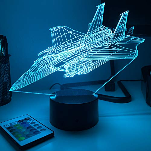 F-15E Strike Eagle Jet - 3D Optical Illusion Lamp - With Remote
