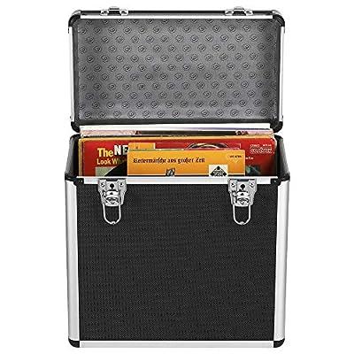 """Costoffs Aluminium 12"""" Vinyl Record LP Storage Case w/Lockable Latches Holds 50 Albums Black"""