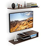 BLUEWUD Kunsua Engineered Wood TV Entertainment Unit/Wall Set Top Box Stand Shelf (Standard Wenge)
