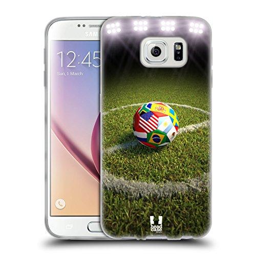 Head Case Designs Palla da Calcio sul Campo Scatti del Calcio Cover in Morbido Gel e Sfondo di Design Abbinato Compatibile con Samsung Galaxy S6