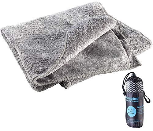 Semptec Urban Survival Technology Freizeit-Handtuch: Mikrofaser-Handtuch, 2 versch. Oberflächen, 80 x 40 cm, grau (Microfaser Reisehandtücher)
