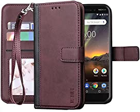Nokia 7.1 Case,Nokia 7.1(2018),RUIHUI Leather Wallet Folding Flip Kickstand Protective Shock Resistant Case Cover with Card Slots,Magnetic Closure for Nokia 7.1[Wrist Strap] (Purple)