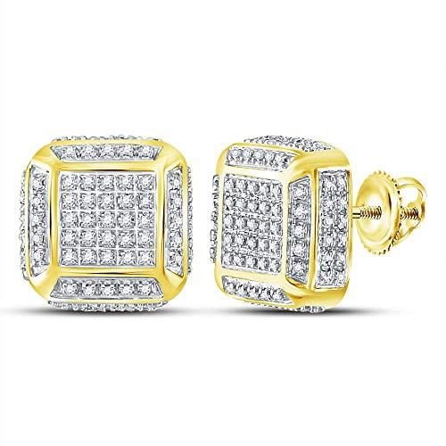 Saris and Things 10k oro amarillo redondo para hombre la plaza del diamante cluster pendientes de medio cttw