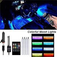 Tickas 車RGB LEDストリップライト雰囲気フットアンビエントライト4つに1つの音声コントロールインテリア装飾ライト車の充電器が付属、DC 12V