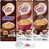Nestle Coffee mate Liquid Coffee Creamer Singles Variety Pack, Snickers, Vanilla Caramel, Cafe Mocha, 50 Ct Box (Pack of 3) with By The Cup Coffee Scoop
