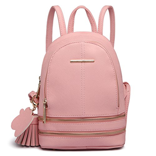 Miss Lulu Women Fashion Backpack Casual Small Saffiano PU Leather Waterproof Rucksack Mini Shoulder Bags (Pink)