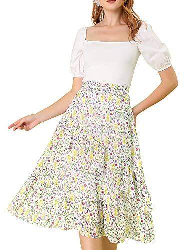 Allegra K Women's Floral A-Line Elastic Back Ruffle Hem Tiered Flowy Midi Skirt X-Small White
