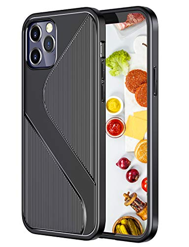 Silicone Cases Compatible with iPhone 12 Pro Case, Slim Silicone Carbon Fiber Ultra-Thin Case Rubber Shockproof Cover Anti-Fingerprint Non-Slip Phone Case Shell for iPhone 12 Pro