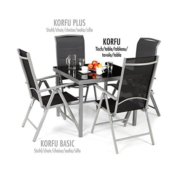 Ultranatura Gartentisch mit Glasplatte der Serie Korfu, Terrassentisch quadratisch, Balkontisch anthrazit, Alu Tisch…
