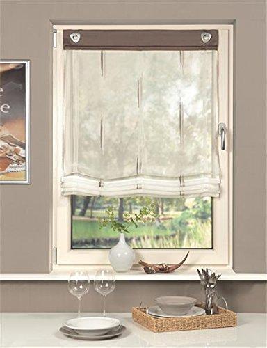 Home Fashion ÖSENRAFFROLLO Voile SCHERLI, Stoff, Stein, 140 x 95 cm