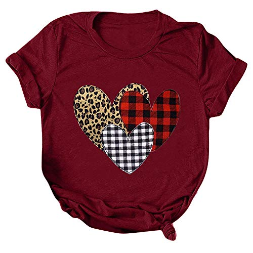 T-Shirt Woman Tshirts Valentine's Day Short Sleeve Oversized T-Shirt Plus Size Clothing T-Shirty Apply To Daily Use Exercise Running Cycling Gym Etc-Burgundy_XXXL_Style
