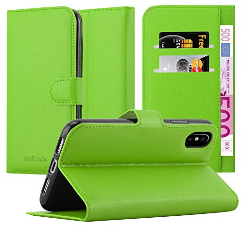 Cadorabo Funda Libro para Apple iPhone X/XS en Verde DE Menta - Cubierta Proteccíon con Cierre Magnético, Tarjetero y Función de Suporte - Etui Case Cover Carcasa