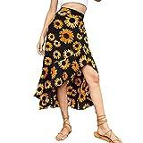 Raiodais Falda con estampado floral de cintura alta para mujer con estilo falda con dobladillo irregular