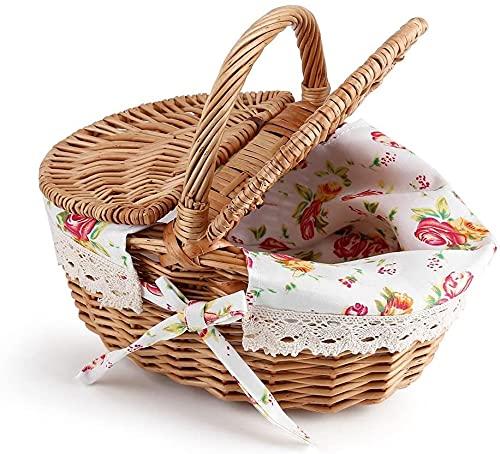 Huajin Picknickzubehör Picknickkorb, ovaler Korb-Picknickkorb aus Wicker-Leinen mit doppeltem Deckel für Picknicks, Partys und Grillabende im Feriencamping Verwenden Sie 10,24 x 7,87 x 5,51 Zoll