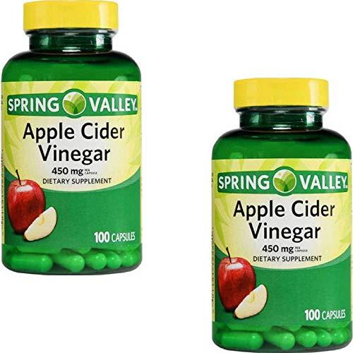 Spring Valley Apple Cider Vinegar 450 Milligram Dietary Supplement,100 Capsules (2 Pack)