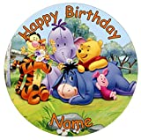 Winnie The Pooh Edible Icing Cake Topper 7.5inch Precut Personalised (Round)