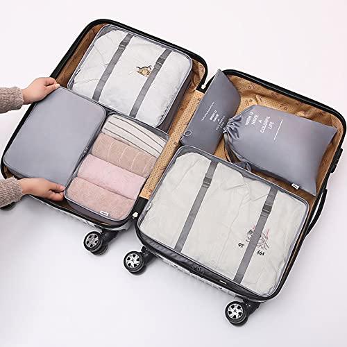 TTWLJJ Cubi di Imballaggio6 PCS Packing Cubes Organizzatore di Valigie Borsa Porta Abiti Pieghevoli Borsone per Cubi da Imballaggio per Abbigliamento Bagagli Set da Viaggio,Grigio