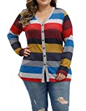Allegrace Women Plus Size Blouses Openable Button Down Shirts Long Sleeve Color Block Stripe Tops Multicolored Stripes 14W