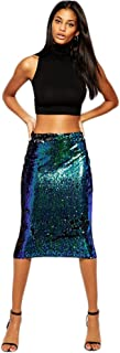 Women's Sexy Sequins Hip Package Pencil Midi Skirts For Work Party