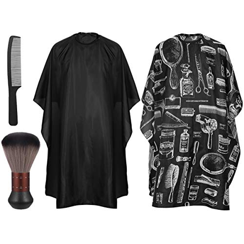 Hair Cutting Gown Salon Cape, Frcolor 2 Pack Barber Gown Cape with Hairdresser Neck Brushes and Black...