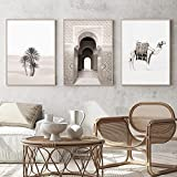 Arte de pared Camel Marruecos Puerta Palmas Sahara Desierto Paisaje Lienzo Pinturas Póster Imagen de impresión Sala de estar Decoración del hogar 30x40cmx3 sin marco