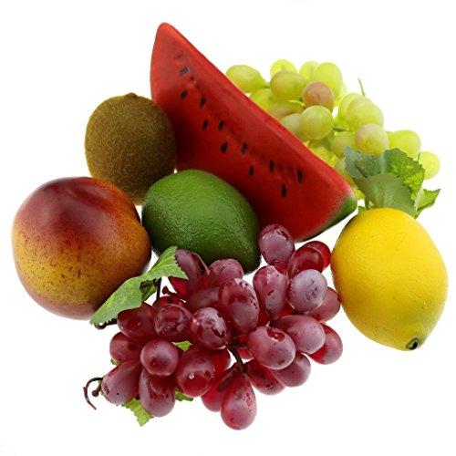 Gresorth Künstliche Traube Zitrone Pfirsich Kiwi Wassermelone Früchte Fälschen Dekoration