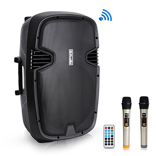 """Pyle 1600 Watt, 15"""" Bluetooth PA Speaker - Indoor/Outdoor Portable Sound System with (2) UHF Wireless Microphones Rechargeable Battery, Audio Recording, USB/SD Readers, FM Radio (PPHP1535WMU)"""
