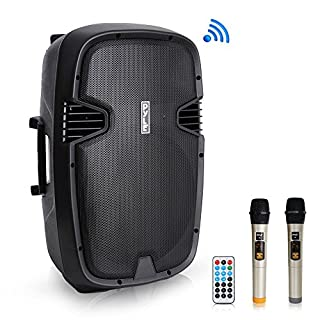 """Pyle 1600 Watt, 15"""" Bluetooth PA Speaker - Indoor/Outdoor Portable Sound System with (2) UHF Wireless Microphones Rechargeable Battery, Audio Recording, USB/SD Readers, FM Radio (PPHP1535WMU) (B077MMZM2Q) 