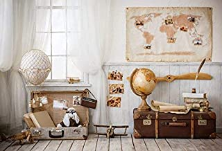 Yeele 7x5ft Global Travel Photo Backdrops Indoor Airplane Model Map Globe Suitcase Globe Photography Background Artistic P...