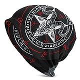 Unisex Beanie Caps 3D Printed Demon Baphomet Satanic Goat Head Skull Cap Knitting Hat Warm Winter Summer Knit Hats for Women Men Black
