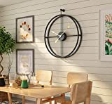 Univer-Co Modern 3D Wall Clocks Battery Operated Decorative 20'x24' Round Iron Metal Clock for Living Room, Bedroom, Office (Black)