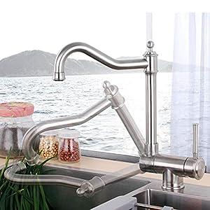 Grifo de cocina plegable para ventana interior, grifo de fregadero giratorio de acero inoxidable 304 para instalación en ventana