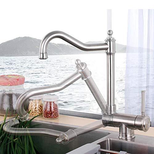 Rubinetto da cucina pieghevole per finestra interna, rubinetto per lavello girevole in acciaio inox 304, per installazione su finestra