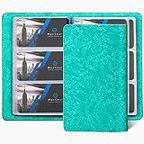 MaxGear Business Card Organizer Business Card Holder Book, Soft Vegan Leather Business Card Binder File Sleeve Storage, Business Card Holders Name Card Holder for Men & Women, 240 Cards, Blue