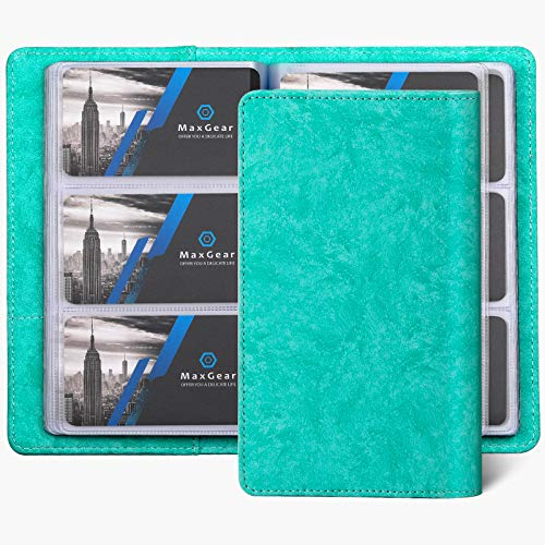 MaxGear Business Card Organizer Business Card Holder Book, Soft Vegan Leather Business Card Binder File Sleeve Storage, Business Card Holders Name Card Holder for Men & Women, 240 Cards, Turquoise