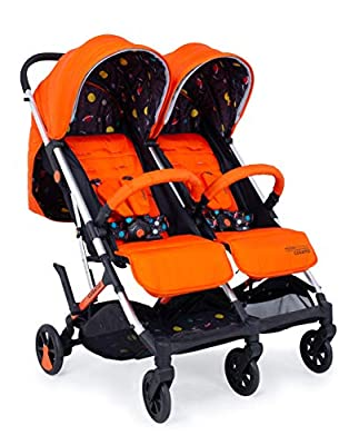 Cosatto Woosh Double Stroller – Lightweight Pushchair From Birth to 15kg, Twins or Siblings | One-hand Fold, Compact, Independent Seats (Spaceman)