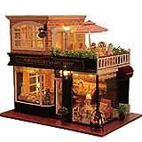 JUZIHOUSE Hölzerne handgemachte Puppenhaus Miniatur DIY Kit - romantische Cafe-Serie Holz...
