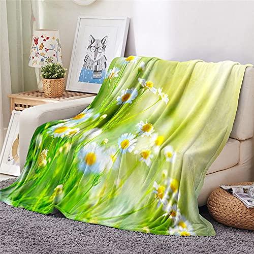 Mantas para Sofa Batamanta Mujer de Franela y Sherpa Manta Bebe Sofa Mantas con Estampados para la Cama y el Sofá 150x200 cm Margarita