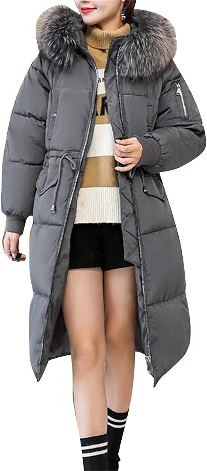 Fubotevic Women Faux Fur Collar Long Plus Size Winter Down Quilted Jacket Coat Parka