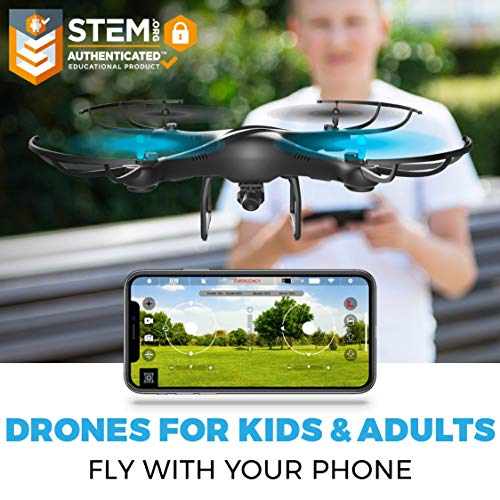 Force1 U45WF FPV RC Drone with Camera - VR Capable WiFi Quadcopter Remote Control Flying Drone with 720p HD Camera Live Video, 6 Axis Gyro, Altitude Hold, Headless Mode, and 2 Drone Batteries